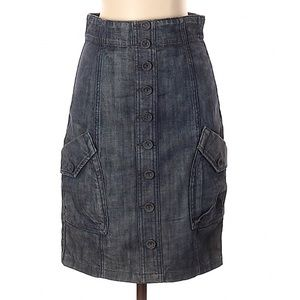 Anthropologie Level 99 High Waisted Denim Skirt 25
